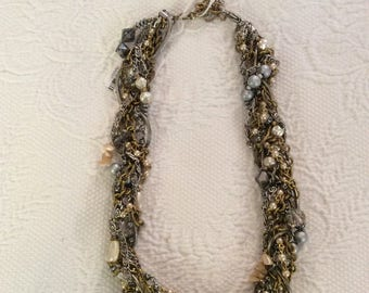 Multi Strand Necklace, Gold, Pearls, Beads,Short Length, Costume Jewelry