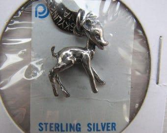 VINTAGE Sterling Silver DEER Fawn CHARM New in Package Skyline Drive Shenandoah National Park Va. Virginia