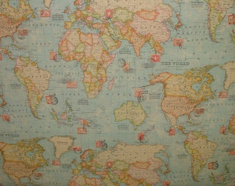 Vintage atlas world map sand designer curtain upholstery quality vintage atlas world map ocean blue designer curtain upholstery quality cotton fabric gumiabroncs Choice Image