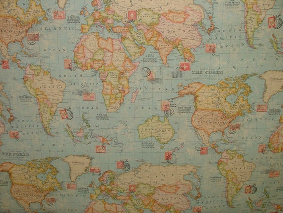 Vintage atlas world map ocean blue designer curtain upholstery vintage atlas world map ocean blue designer curtain upholstery quality cotton fabric from pandorasupholstery on etsy studio gumiabroncs Gallery