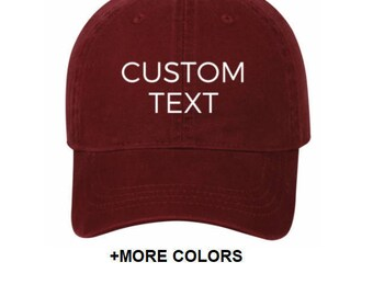 CUSTOM TEXT Garment Washed Cotton Twill Hat | Custom Embroidered Hat, Custom  Hat, Personalized