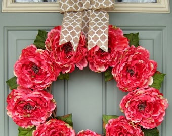 Summer Wreath - Summer Peony Wreath - Summer Door Wreath