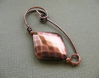 Copper Diamond a Copper Scarf Pin, Shawl Pin, Sweater Pin, Hat Pin, or Closure, Accessory for Your Knits and Weaves