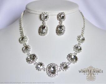 Bridal Statement Necklace, Wedding Jewelry Set, Vintage Inspired Necklace, Crystal Necklace, Bridal Jewelry Set, Bridesmaids Jewelry