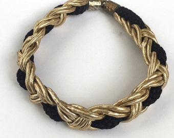 Gold and Black Braided Necklace