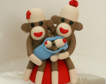 Sock Monkey Baby Shower Family Keepsake Cake Topper