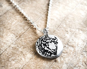 Tiny Bison necklace in silver  Buffalo necklace