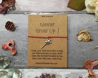 Magic Wand Wish Bracelet, Never Grow Up! Wish Bracelet, Peter Pan Gift, Wand Wish Bracelet, Disney Bracelet, Magic Wand Charm, Best Friend