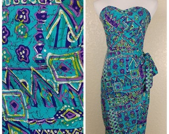 Fantastic Vintage Tiki Print Sarong Dress