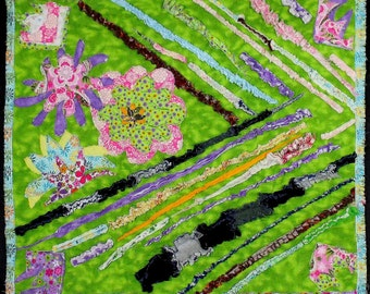 """Abstract  Art  Quilt """"Flowers and Colors"""""""