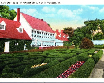 Mount Vernon, Virginia, Gardens, George Washington's Home - Postcard - Vintage Postcard - Postcard -  Unused (Z)