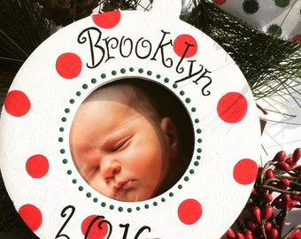 Personalized Photo Picture Christmas Holiday Ornament Keepsake baby kids children Babys 1st Christmas