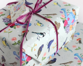 Gift Wrap with Tag - Single Sheet of Gift Wrapping - Garden Birds Gift Wrap - Wrapping Paper - Gift Wrap Paper - Scrapbook Paper