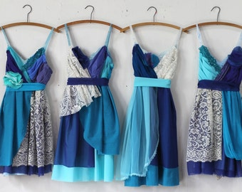 Custom Blue Bridesmaids Dresses