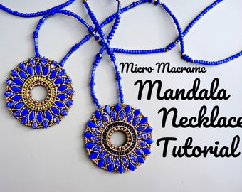 Micro Macrame Mandala Pendant Tutorial - Macrame Necklace - DIY - Pattern - Jewelry Making Instruction
