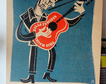 Woody Guthrie  A3 limited edition country art print by Chris Sick