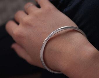 Personalized Oval Bangle Bracelet Hand Stamped Jewelry, sterling silver HERA Bangle Australia