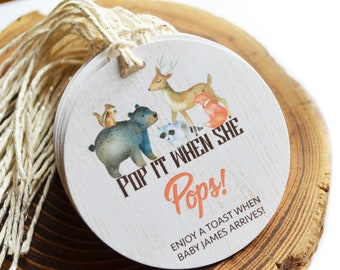 Woodland Baby Shower Favors, Baby Shower, Pop it when she pops, Ready to POP, Gender Neutral, Personalized Gift Tag, Champagne, Popcorn, Fox