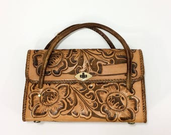 70s Tooled Leather Purse Brown Hand CARVED Bag Structured Handbag Leather Purse Braided SOUTHWESTERN Hippie Boho Floral Etched