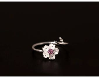 Bloom - Sterling Silver Single Blossom Ring Floral Adjustable Ring Beautiful Design-Free Gift Box
