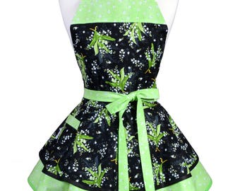 Ruffled Retro Apron - Green Black Lily of the Valley Kitchen Apron - Womens Sexy Cute Pinup Apron with Pocket - Monogram Option
