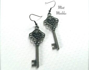 Heart Shaped Key Dangle Earrings. Gunmetal. Antique Silver. Skeleton Key. Vintage Style Key. Under 15 Gifts. Romantic. Unique.