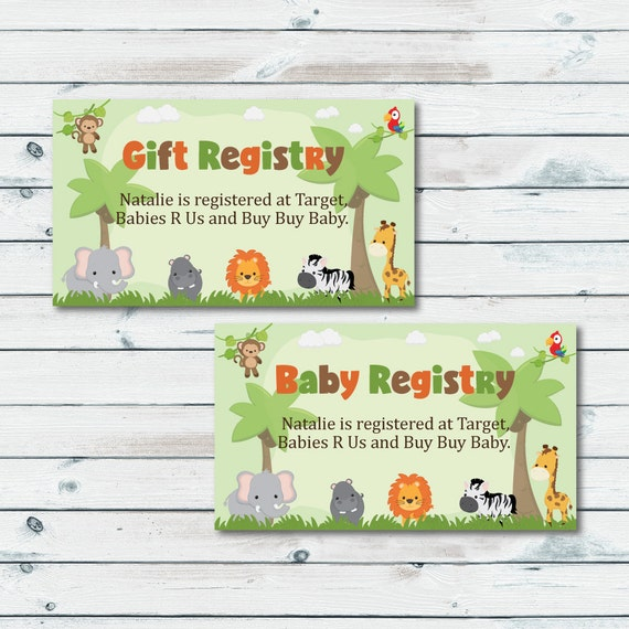 Registry Inserts Template: Baby Registry Cards Registry Inserts Safari Baby Shower Gift