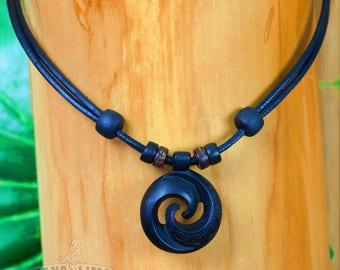 Adjustable surfer necklace Surfer jewelry Leather necklace with Koru pendant HANA LIMA ®