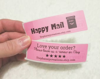 Shop Review Stickers - Happy Mail Stickers - Custom Shop Stickers