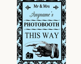 Sky Blue Damask Photobooth This Way Left Personalised Wedding Sign