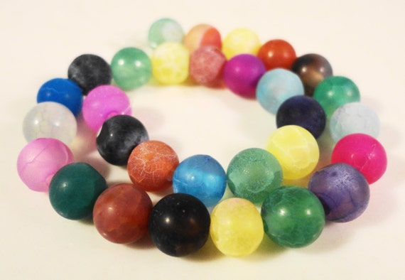 Agate Gemstone Beads 8mm Round Multi Color Frosted Matte Cracked Fire Agate Semiprecious Stone Beads on a 7 Inch Strand with 24 Beads