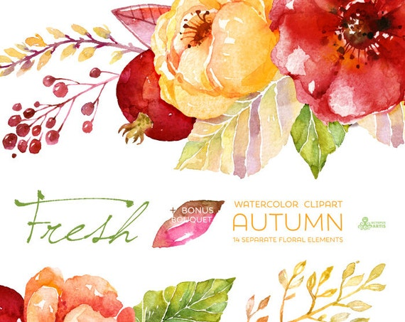 Fresh Autumn Elements Clipart Bouquet Handpainted Watercolor Wedding Invitation Separate Floral Greeting Diy Pomegranate From OctopusArtis