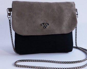 Suede flap bag is taupe and black chain shoulder Agathe