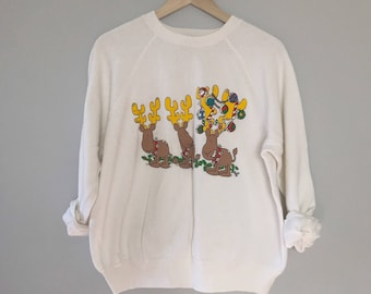 Vintage Reindeer sweatshirt Distressed Christmas sweater