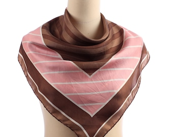 Striped Silk Scarf 80s Bohemian Neckerchief Geometric Shawl Abstract Print Muffler Boho Unisex Colorblock Retro Casual Gift Large
