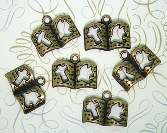 6 Bible Charms Antique Bronze Tone with Cut Out Dove and Cross - BC208