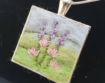 Felted & embroidered flowers pendant with chain - miniature felted wool art collage necklace jewelry - gift for mum