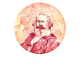 "Karl Marx — [§] Watercolor Painting - 8x10"" or 10x12"" Giclee Print"