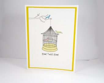 New Home Card, New House, Home Sweet Home, Home Tweet Home, Housewarming, House Warming, Congratulations, birdcage, bird cage, yellow white