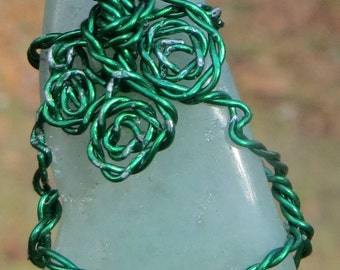 Tumbled Green Aventurine Wire Wrapped Pendant