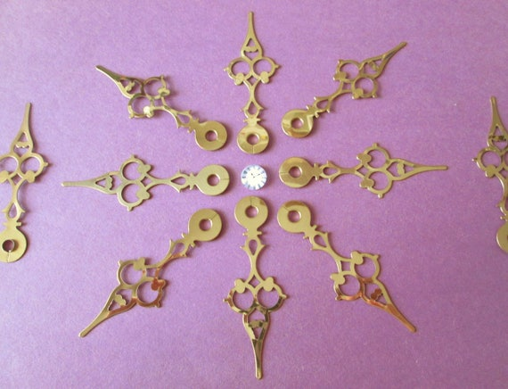 """10 New Shiny Serpentine Style Brass Plated Steel Clock Hands for your Clock Projects, Jewelry Making, Steampunk Art, Crafts 3 1/8"""""""