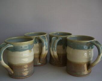 Hand thrown stoneware pottery mugs set of 4  (M-58)