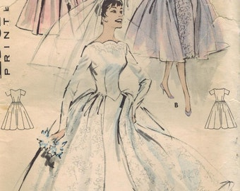 1950s Butterick 8704 Vintage Sewing Pattern Misses Bridal Dress, Wedding Gown, Bridesmaid Dress Size 12 Bust 32