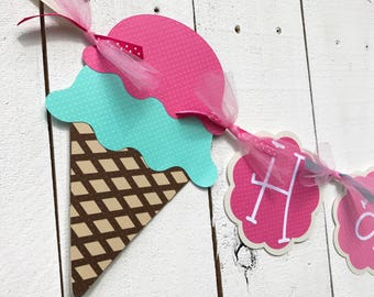 Ice Cream Cone Birthday Banner/Ice Cream Garland/Custom Banner/ Name Banner/ Party Package