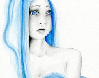Girl With Blue Hair Art Print Giclee Art Print of my Original Drawing Painting of Girl Salon Decor Women in Art Blue Decor Blue Wall Art