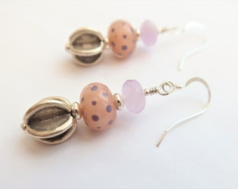 Blush, Pale Pink and Lilac Artisan Glass Earrings