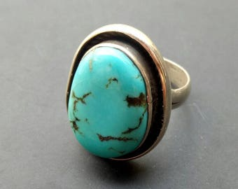 Handmade Sterling Silver Turquoise Boho Statement Ring - Bohemian Turquoise Ring - Sterling Turquoise Statement Ring - unique - size 6.2