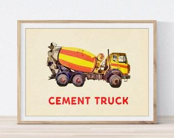 Cement Truck Wall Art, Cement Truck Print, nursery decor, Transportation Art concrete mixer Little Boy's Room Decor nursery  Print baby boy