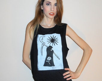 Black GRIM REAPER - Death Tarot Card Graphic Muscle T Shirt -- Made to Order in Sizes Extra Small, Small, Medium, Large, Extra Large