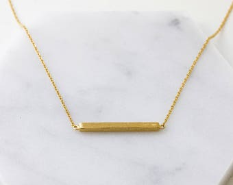 Bar Necklace,Dainty 14K Gold Necklace,Layering Necklace,Gold Necklace,Delicate Gold Necklace,Statement Necklace, Minimalist Necklace, N384-G